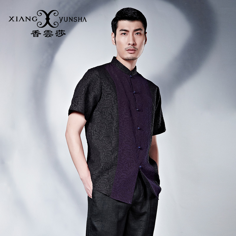 Xiang yun lufthansa 2016 summer new men's short sleeve chinese wind retro casual style coat in silk