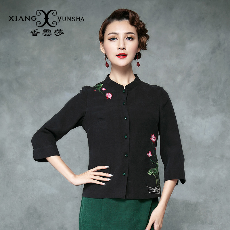Xiang yun lufthansa black embroidery national wind sleeve shirt female 2016 summer new silk chinese silk