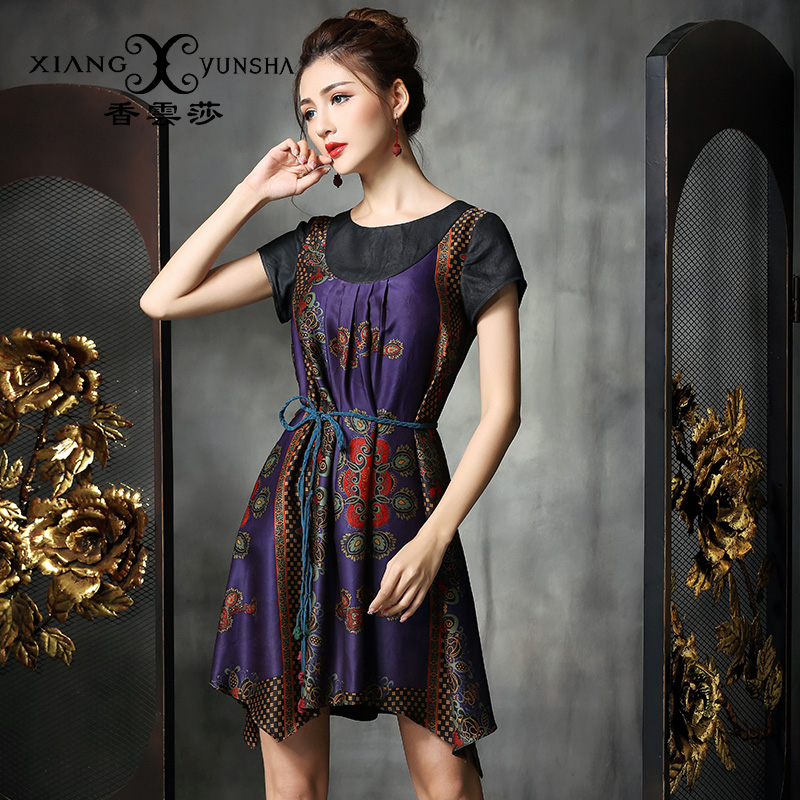 Xiang yun lufthansa china wind short sleeve summer new 2015 mulberry silk silk silk dress irregular