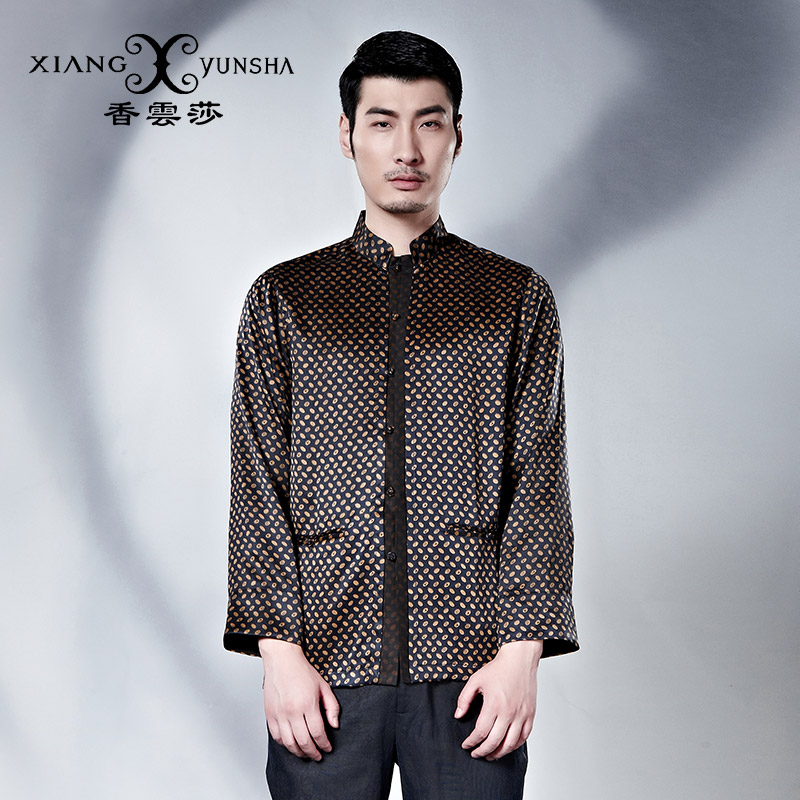 Xiang yun lufthansa china wind summer new silk silk men's shirt collar plate buttons long sleeve shirt costume