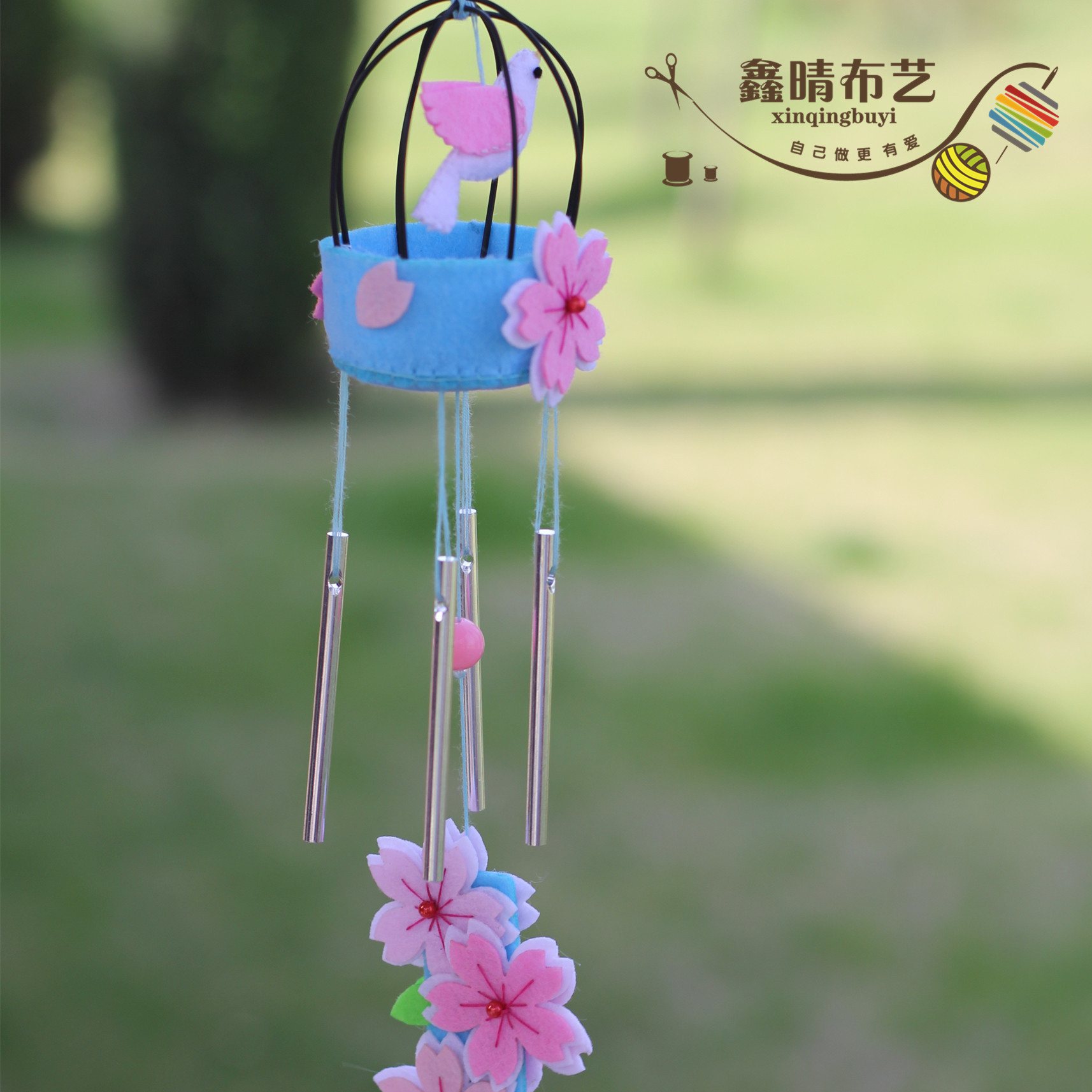 Xin qing avoid cutting the original home does not weaving handmade diy fabric material package cherry wind chimes wind chimes ornaments door trim