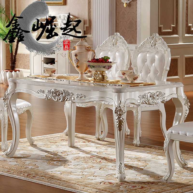 Xin rise of european marble dining table rectangular dining table dinette combination of 6 people