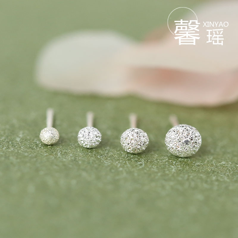 Xin yao s925 silver sterling silver stud earrings female models glossy peas matte bead earrings bone nail mini hypoallergenic earrings