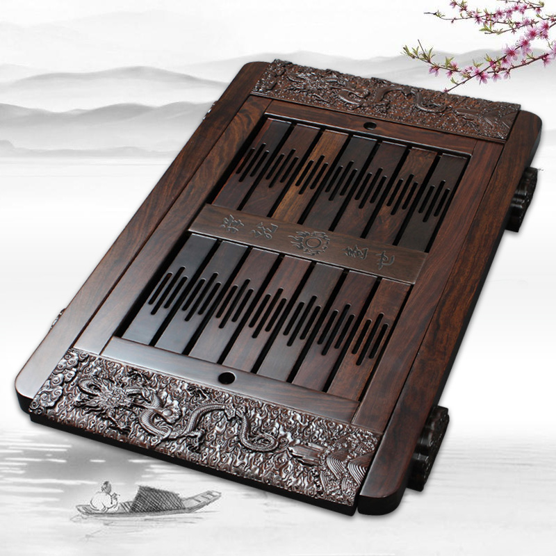 Xin yi margin of kung fu tea large trumpet ebony wenge wood tea tray drawer storage tray tea sea station