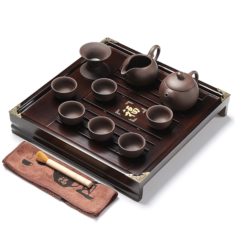 Xin yi margin of square wood wooden trumpet ru yixing tea tray kung fu tea special package tea set