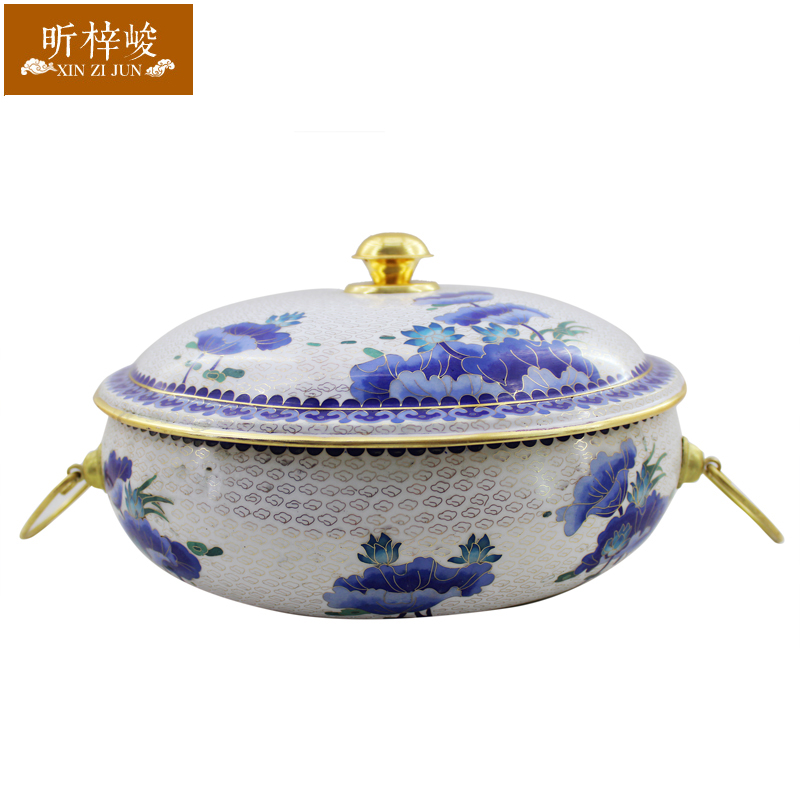 Xin zi finishing 32CM cloisonn lotus copper thick pure copper copper pot charcoal copper pot charcoal fire boilers fashioned