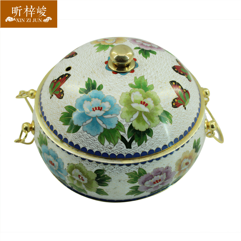 Xin zi finishing cloisonn white peony thick pure copper copper pot cooker fire carbon copper pot of old wooden Hot pot