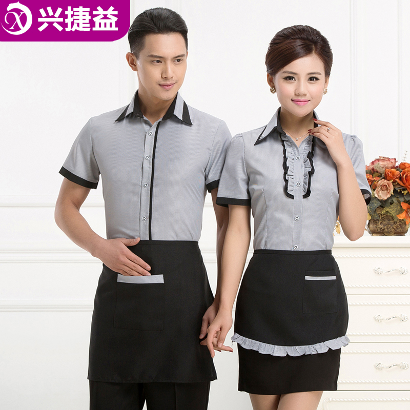 Xing jie yi hotel uniforms female summer fast food restaurant grill restaurant uniforms sleeved work clothes