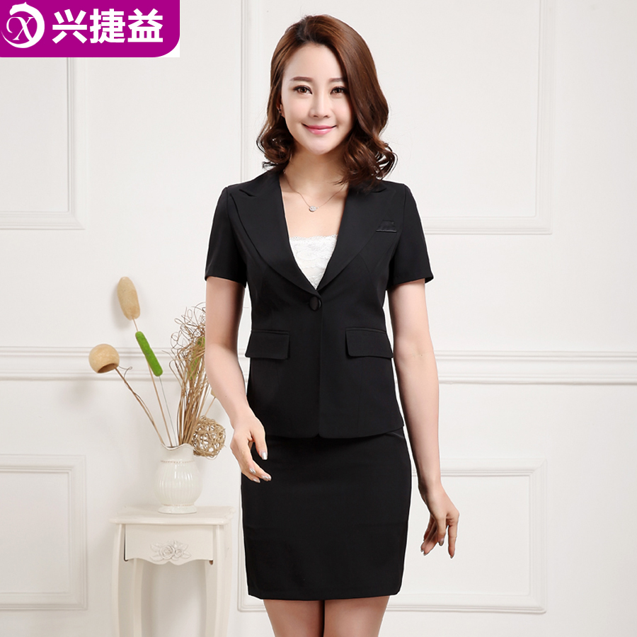 Xing jie yi overalls suit female hotel front desk stewardess uniforms career suits short sleeve sleeved belmer