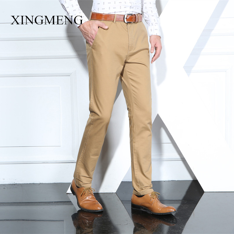 Xing meng 201 autumn and winter casual pants male korean business cotton leisure slim straight jeans waist pants khaki pants