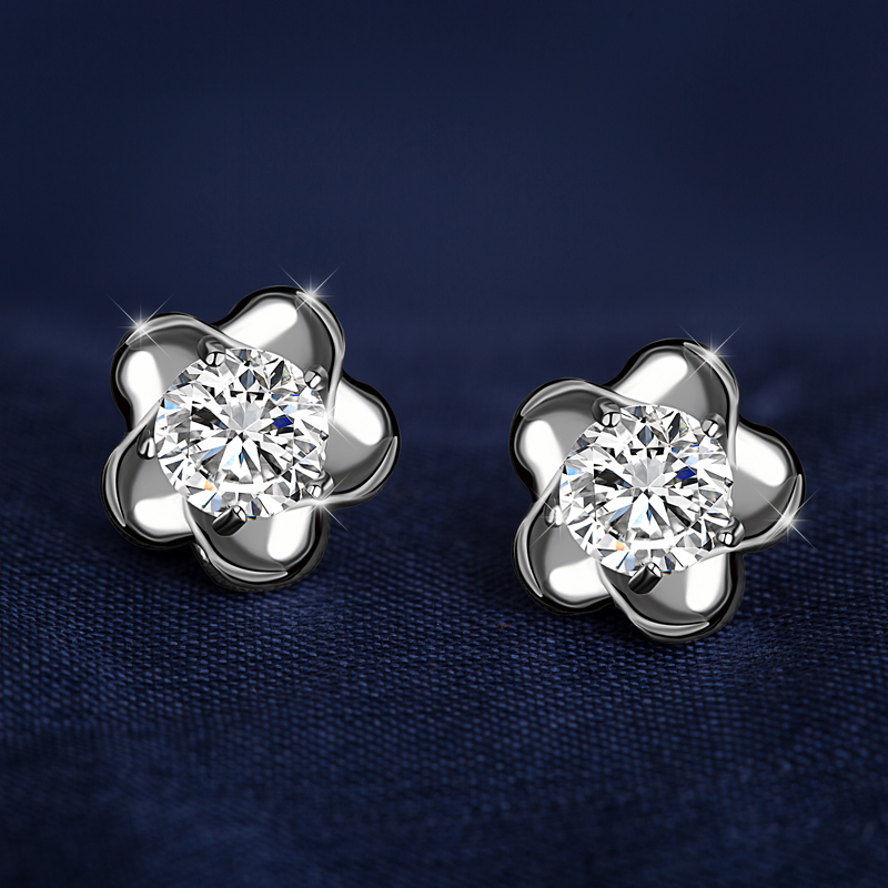 Xinli ya s925 silver stud earrings female hypoallergenic ear jewelry simple south korean sweet gas quality plum lover gift