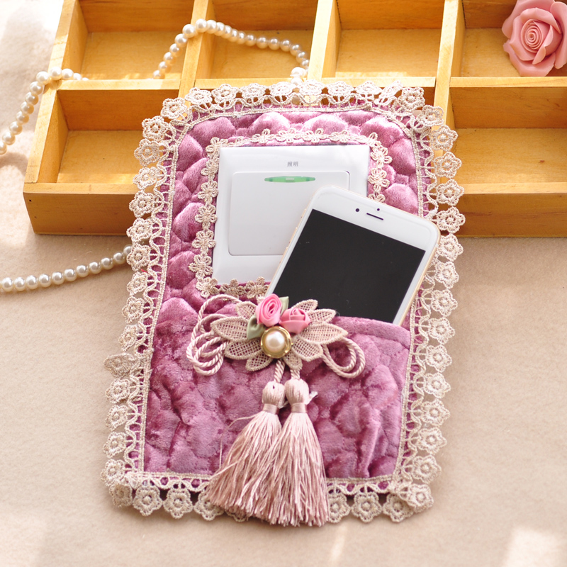 Xinyi euclidian with pocket guadai pastoral lace fabric switch stickers wall stickers switch sets the key phone bag