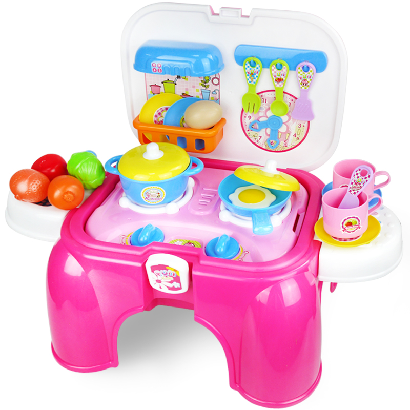 Xiongcheng children play house kitchen playsets kitchen utensils to cook light and sound effects tools girls gaming chair stool
