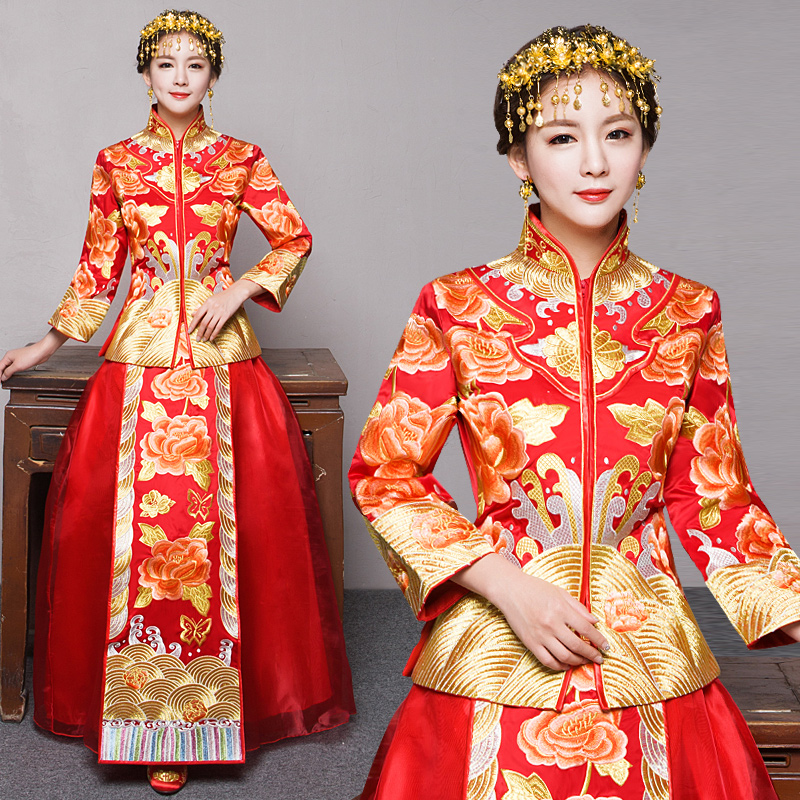 Xiu bride dress 2016 new summer models of red chinese dress bride dress red wedding toast clothing kimono show