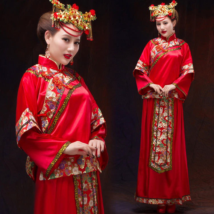 Xiu bride dress wedding toast clothing red dress costume vintage chinese wedding suit