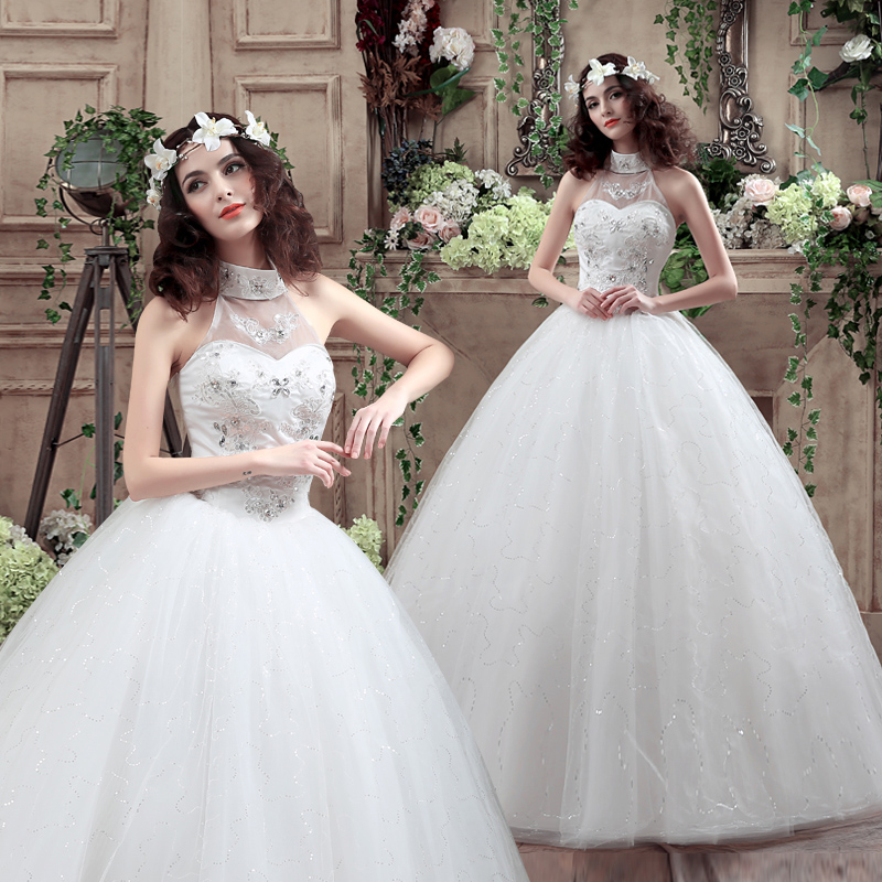 Xuan bride wedding dress 2016 new halter wedding dress straps slim korean wedding qi was thin wedding