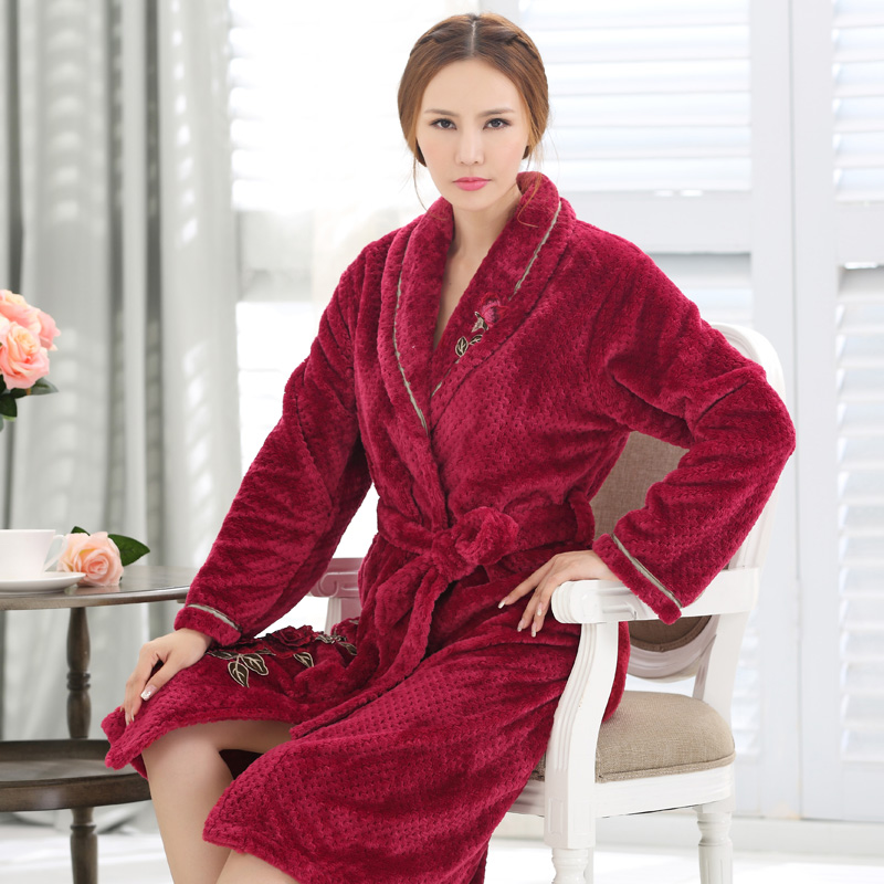 Xuan liang 2015 new winter ms. coral velvet robe thick flannel nightgown pajamas large size xxxl
