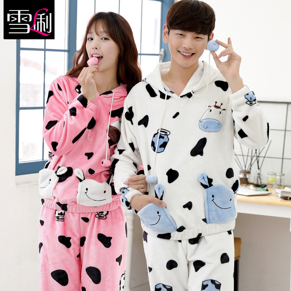 Xue li new autumn and winter thick coral velvet pajamas couple home service men and women in autumn and winter suits for men and women