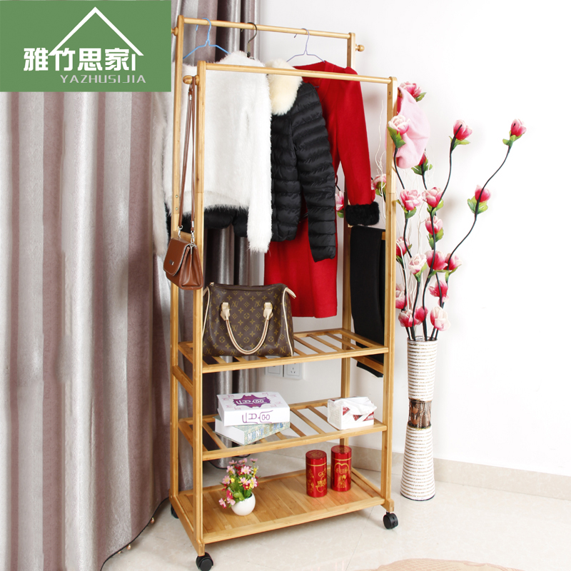 Ya bamboo homesick coat hanger coat hanger wood floor bedroom creative fashion clothes rack simple specials