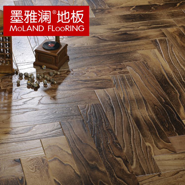 Ya lan ink archaized herringbone parquet 15mm elm multilayered wood flooring to warm the floor