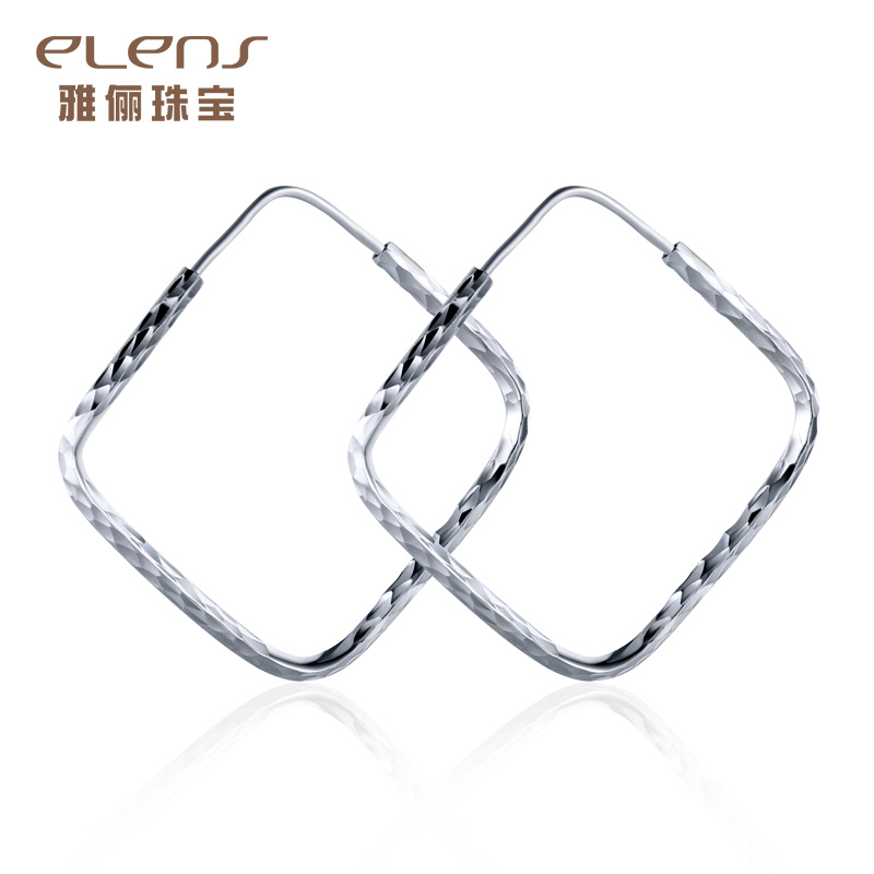 Ya li jewelry pt950 platinum platinum earrings female models square hoop earrings fashion earrings ear jewelry