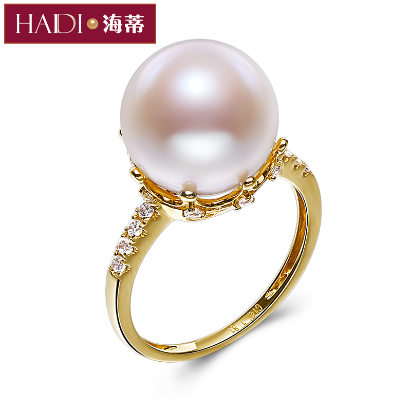 Yami 13mm centimetres hildy jewelry glare perfect circle freshwater pearl ring female genuine g14k gold