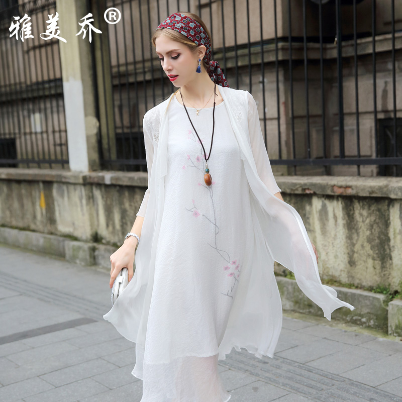 Yami joe 2016 new summer silk mulberry silk long cardigan sun protection clothing thin section shawl outside the ride