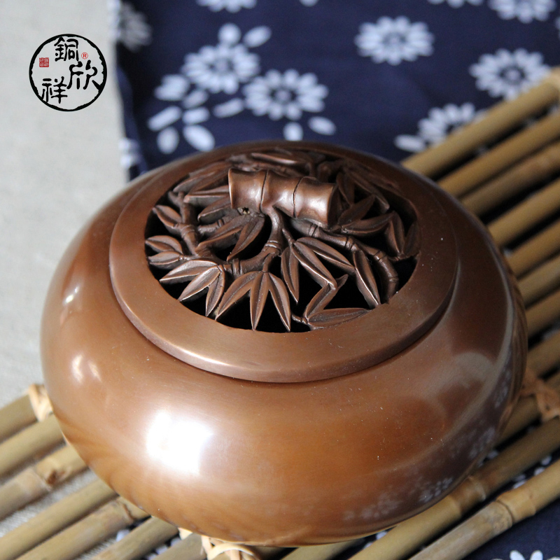 Yan cheung copper copper copper copper incense burner incense censer archaized slubby lid antique sandalwood incense coil incense incense buddha with supplies