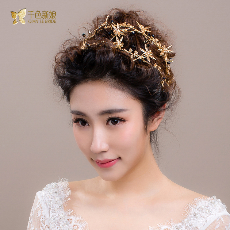 Yan ling thousands of colors the bride crown headdress korean sweet bride wedding hair accessories hair bands handmade golden dragonfly