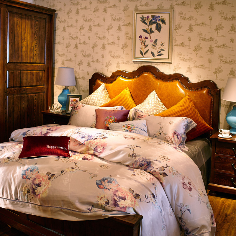 Yan love textile soft silk printed dress european and american style bedroom suite family of four sheets silky silk