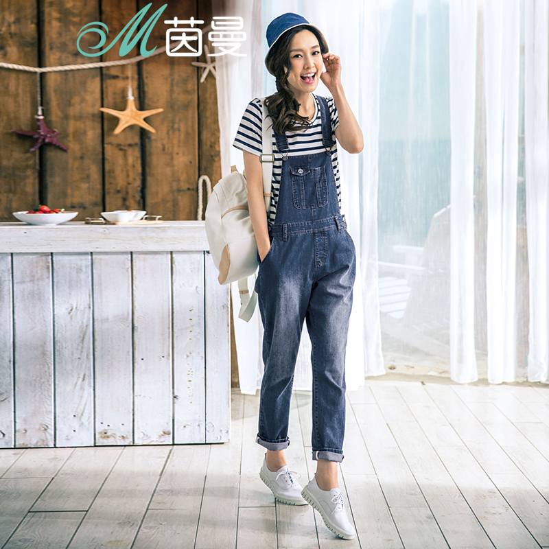 Yan man flagship store 2016 hitz waist was thin cotton overalls jeans long pants female spring and autumn
