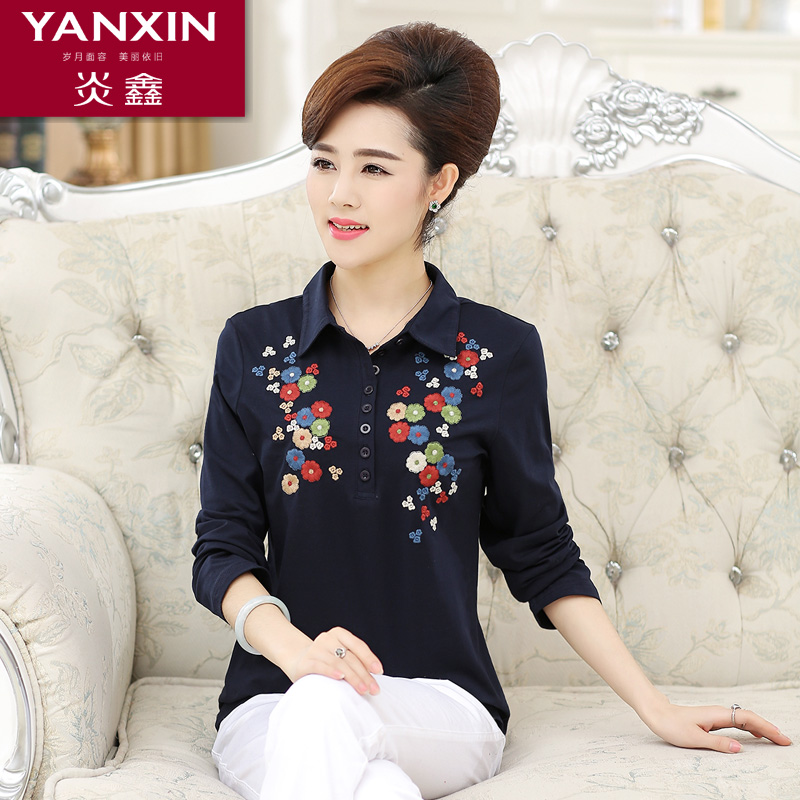 Yan xin 2016 middle-aged mother dress spring women's ms. middle-aged mother dress shirt long sleeve cotton t-shirt