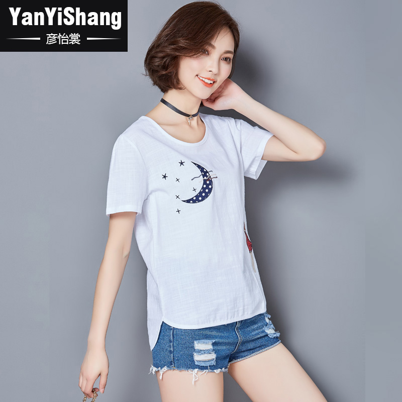 Yan yee sang embroidery spring and summer women's short sleeve t sleeve cotton linen shirt loose big yards bottoming shirt short sleeve compassionate