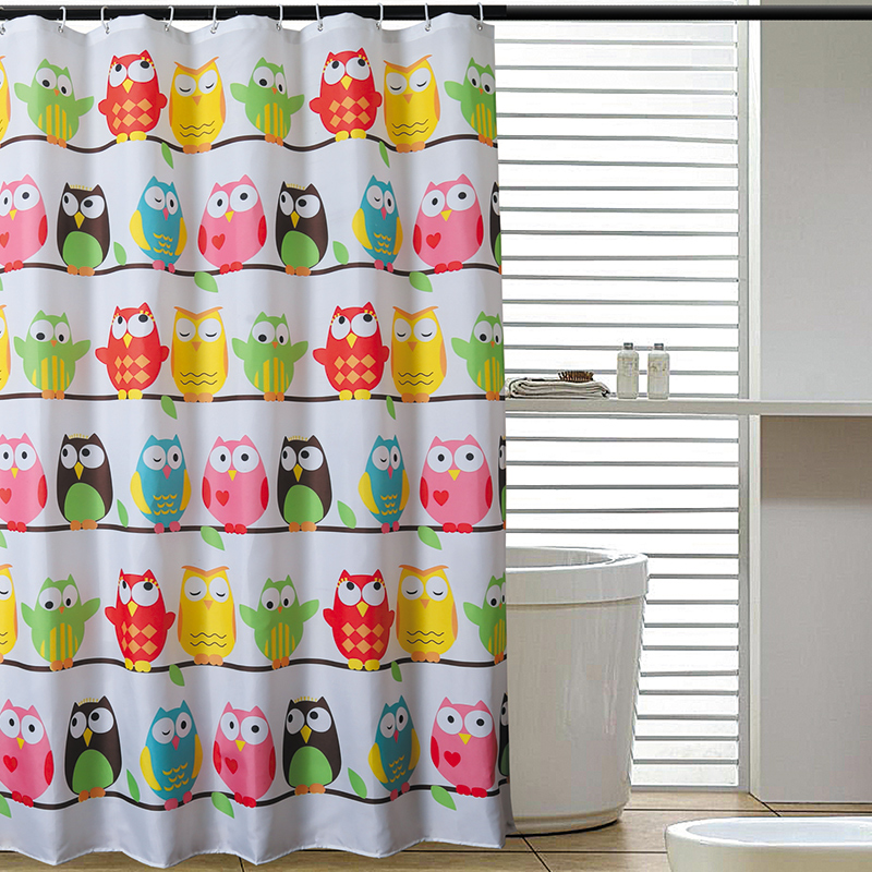 Yang yun genuine new owl thick polyester waterproof shower curtain mildew bathroom shower curtain fabric shower curtain hooks to send heavier sinker