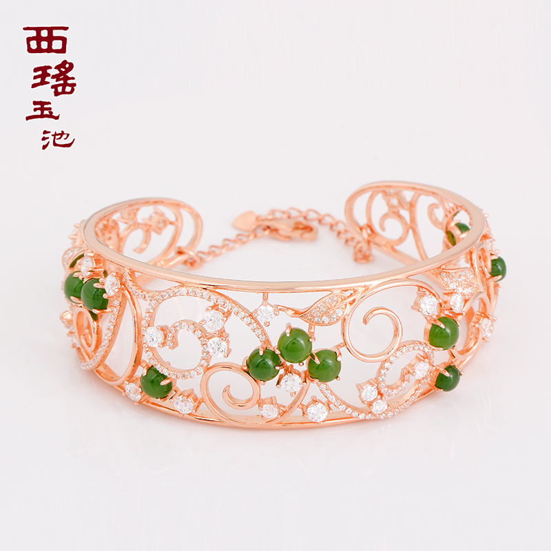 Yao west tamachi and nephrite jade jasper silver inlaid jade natural jade bracelet with a certificate opening wide bracelet female models child specials