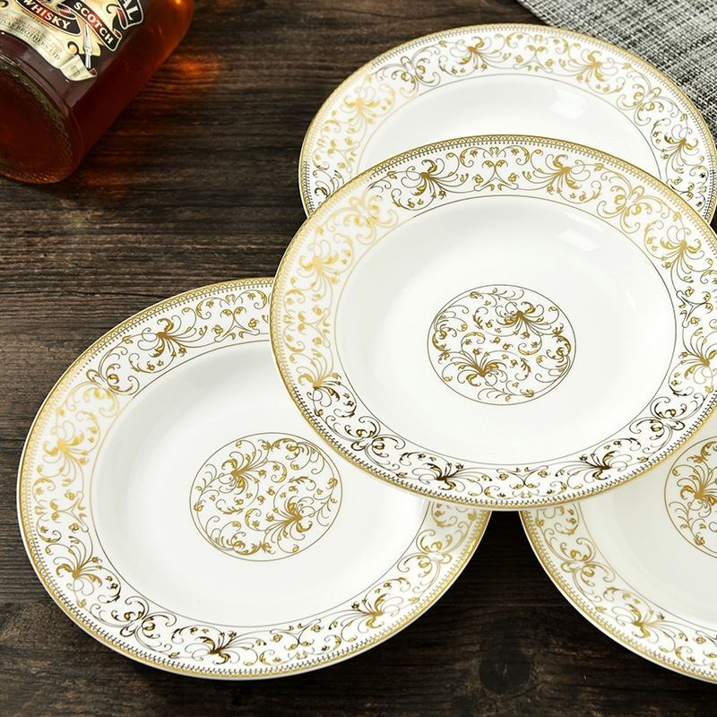 Yaohua gold bone china tableware plate round dish 8 inch ceramic flat plate dinner plate soup & China Gold Plate China China Gold Plate China Shopping Guide at ...