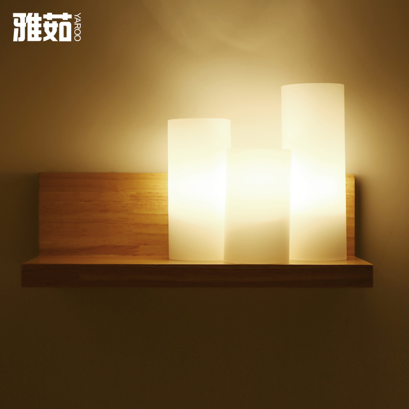 Yaru modern minimalist creative personality living room wall lamp study lamp bedside lamp chinese art wood wall sconce lighting
