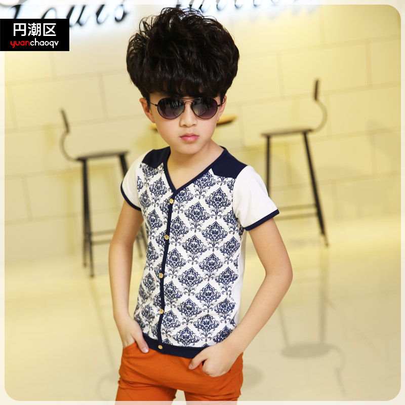Ycq kids boys summer new short sleeve t-shirt v-neck t-shirt 2016 children big boy casual korean version of the influx of t