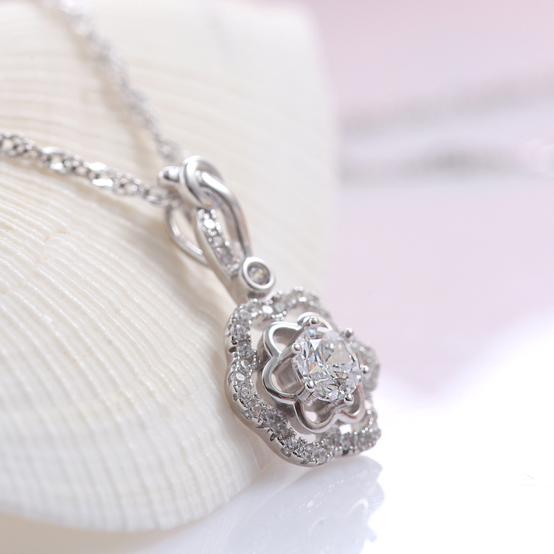 Yd swarovski zircon silver flower pendant necklace female 925 silver jewelry clavicle short chain P4042
