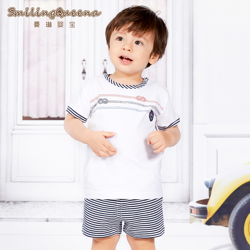 Years of age and a half two sets of children's clothing boys suits summer 2 summer influx of male baby pure cotton children t-shirt shorts