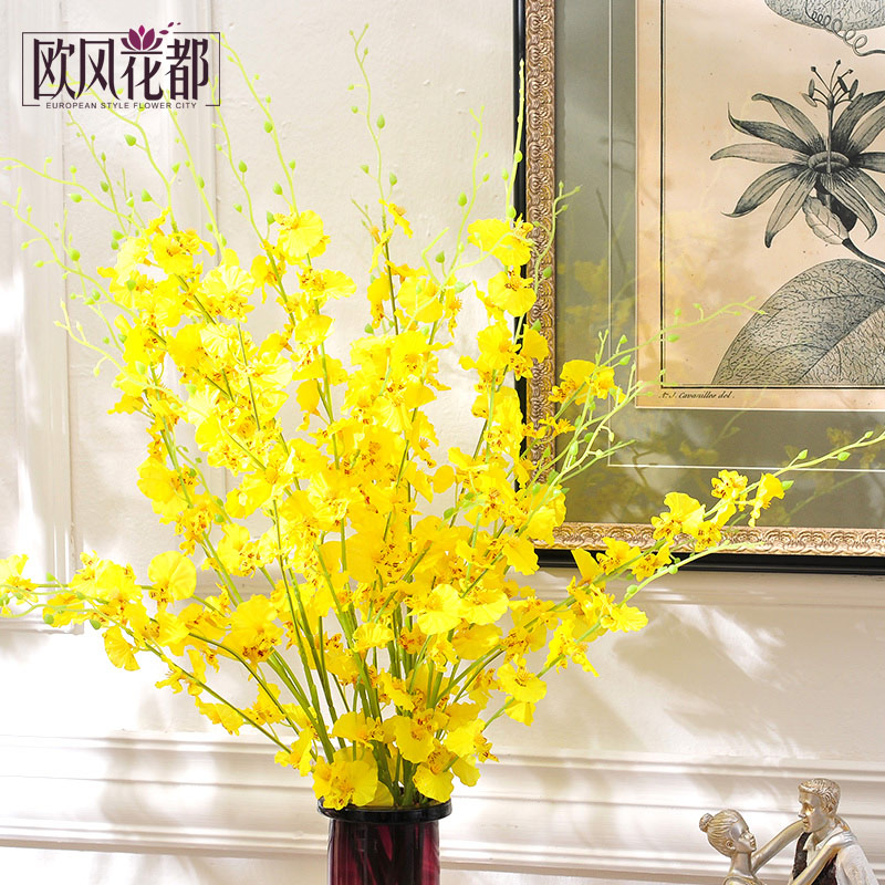 Yellow dancing orchid artificial flowers silk flower high simulation suite living room floor vase flowers european floral table decorations