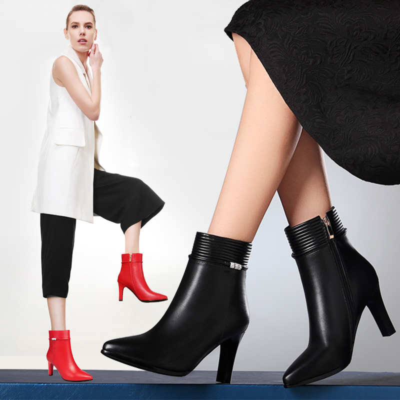 Yi dai zi 2016 autumn new leather pointed stiletto boots women high heels boots duantong boots boots autumn european and american women