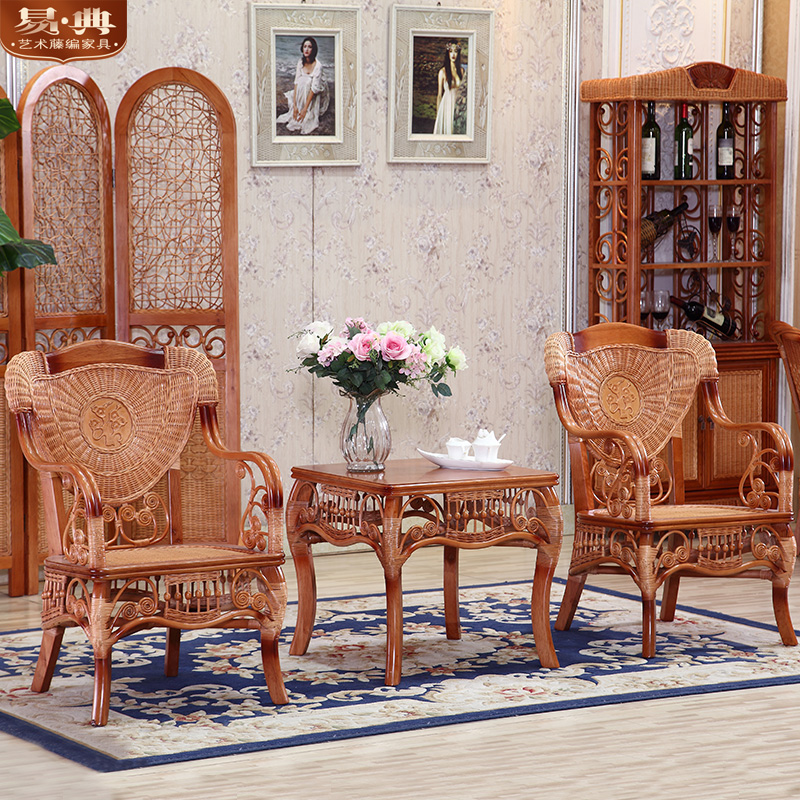 Yi dian imported rattan lounge chair armrest southeast rattan wicker chair rattan furniture balcony chair coffee table three sets of combination