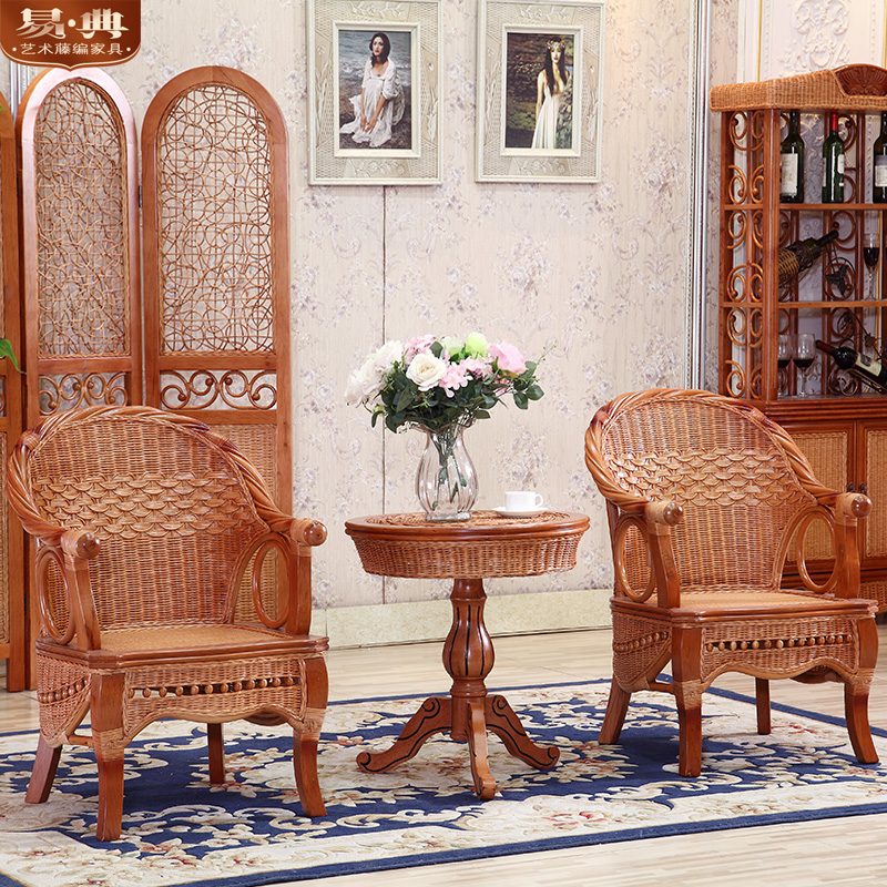 Yi dian southeast parlor sofa chair rattan lounge chair rattan wicker chair rattan chair rattan furniture rattan chair and coffee table three sets