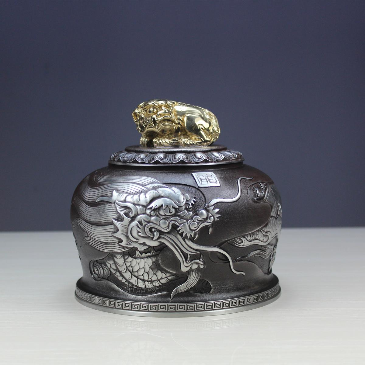 Yi goods xihu dragon large boxes of tea caddy tin tea caddy tin cans tin tea caddy tin