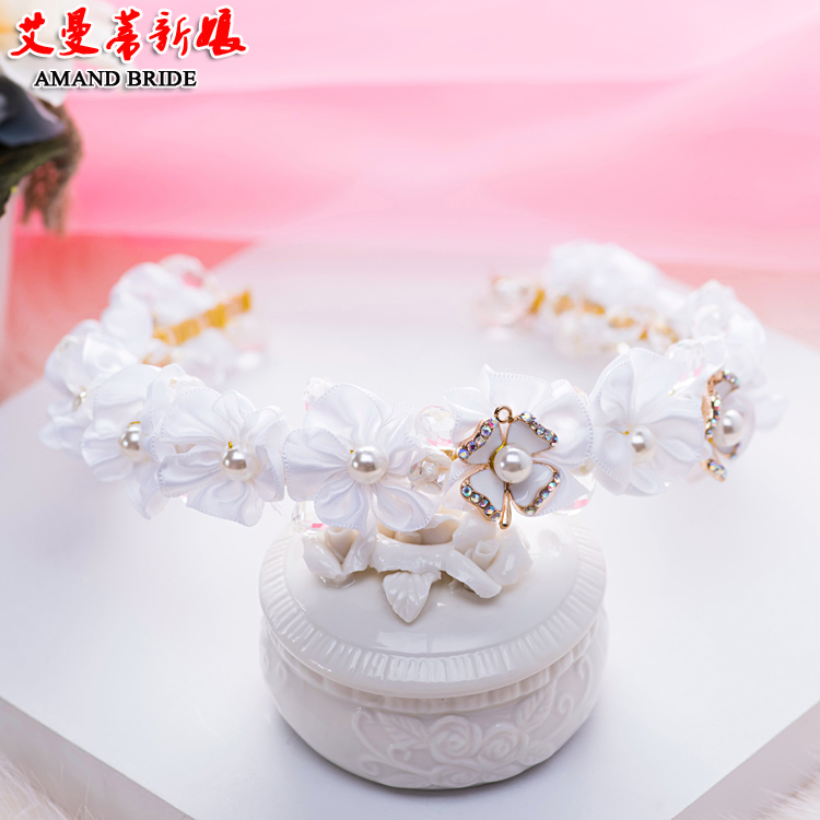 Yi mandi bride headdress cloth hair bands sweet princess hair accessories bridal crown jewelry wedding dress with accessories
