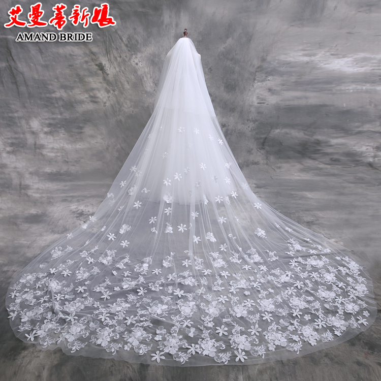 Yi mandi korean bridal veil veil long paragraph two layers of lace large tail wedding veil accessories supplies 50