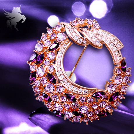 Yi mining purple wreath brooch crystal brooch crystal brooch pin brooch korean female models quality jewelry gift