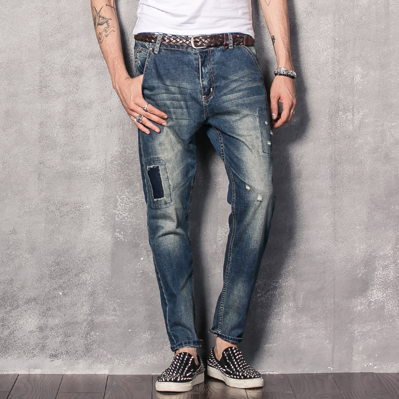 Yi off the trend of men's new korean version of slim small patch patch holes in jeans feet pants beggar pants trousers
