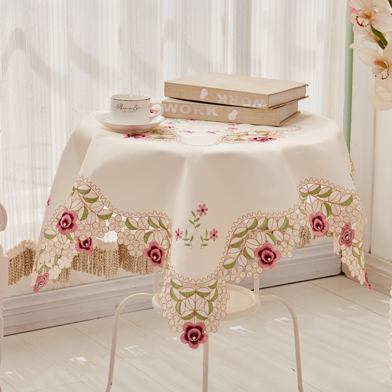 Yi ran pastoral lace cloth tablecloths european coffee table cloth tablecloth round tablecloth table cloth tablecloth embroidered pink shirt